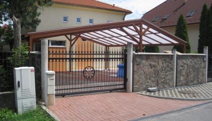 Hliníkový prístrešok pre autá, imitácia dreva, Bratislava